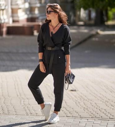 Женский костюм с кимоно Вивьен черного цвета
