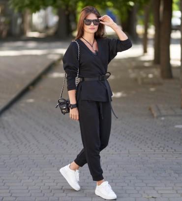 Женский костюм с кимоно черного цвета Ханна