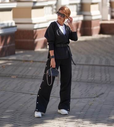 Женский костюм с кимоно Вивьен черного цвета с кружевом