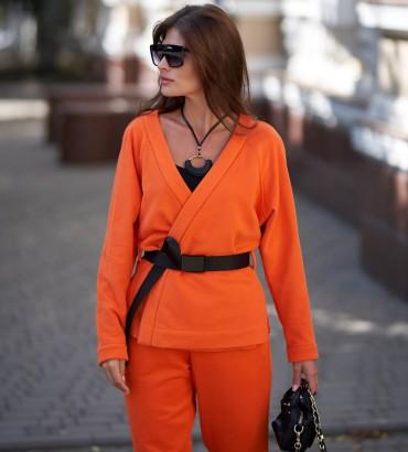 Женский жакет кимоно оранжевого цвета с кружевом