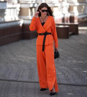 Женский костюм с кимоно Вивьен оранжевого цвета с кружевом