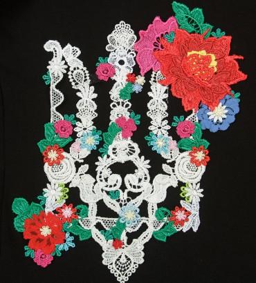 Одежда свитшот женский Белый трезубец в цветах 2