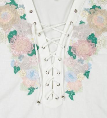Одежда платье лен белое Роза пустыни 2