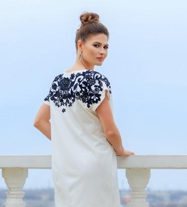 Одежда белое платье льнянное Адажио 2