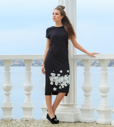 Одежда черное платье миди Флавия