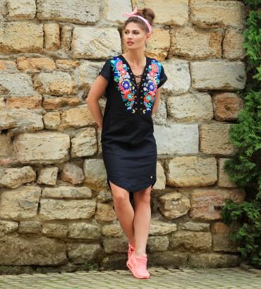 Одежда черное платье лен Дольче Вита