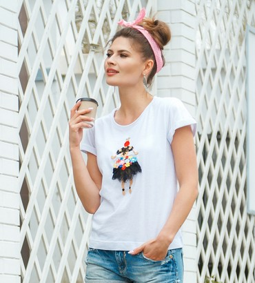 Одежда белая футболка с кружевом Принцесса