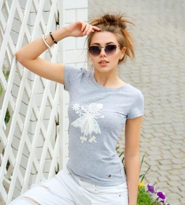 Одежда серая футболка с кружевом Лили