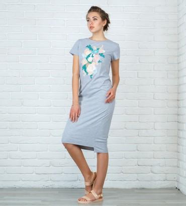 Одежда платье миди с кружевом Нежность