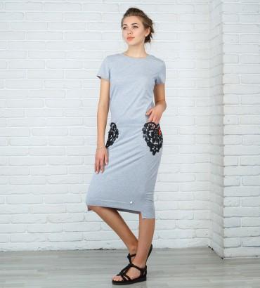 Одежда платье миди серое Сердца двух
