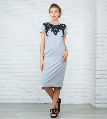 Одежда серое платье миди Ника