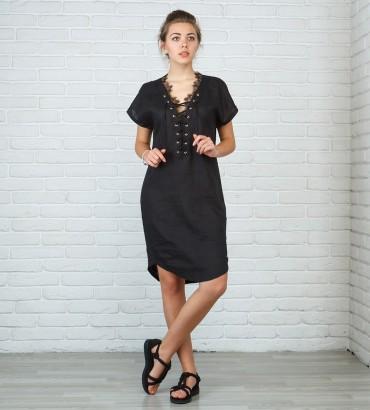 Одежда черное платье лен Омега