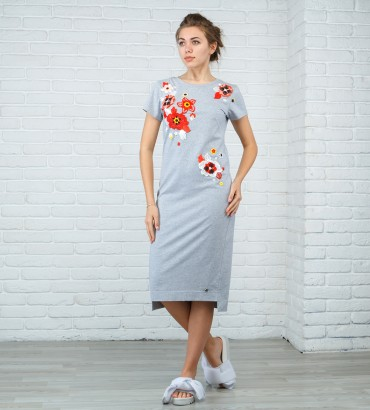 Одежда платье миди серое Бьянка