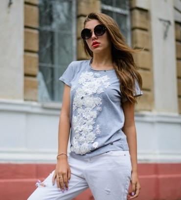 Одежда футболка серая с кружевом Кира