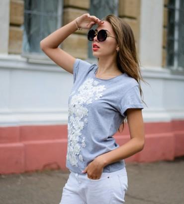 Одежда футболка серая с кружевом Кира  2