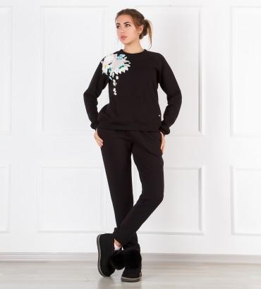 Одежда теплый черный костюм с кружевом Сабина