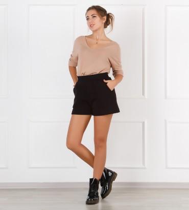 Одежда черные теплые шорты женские