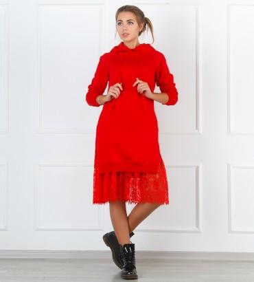 Одежда худи длинный красный Стелла