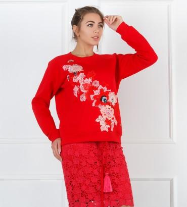 Одежда красный свитшот с кружевом Сады Семирамиды