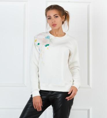 Одежда белый свитшот с кружевом Сабина