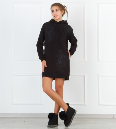 Одежда женский длинный худи черный  Катрин
