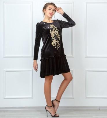 Одежда черное платье бархатное Богемия