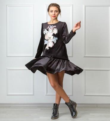 Одежда бархатное платье черное Ваниль