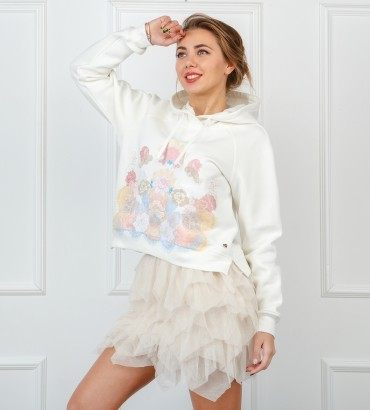 Одежда белый худи короткий Жасмин mini