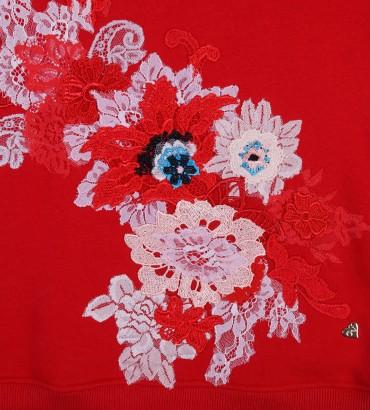 Одежда красный свитшот с кружевом Сады Семирамиды 2