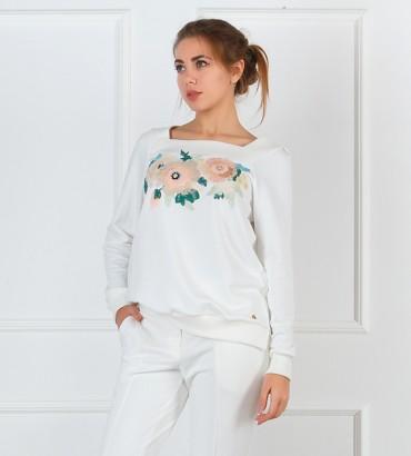 Одежда белый свитшот с кружевом Мирра