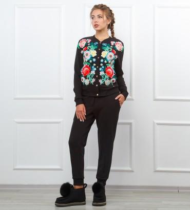 Одежда женский черный спортивный костюм Версаль