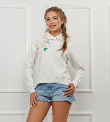 Одежда белый худи короткий Сабина