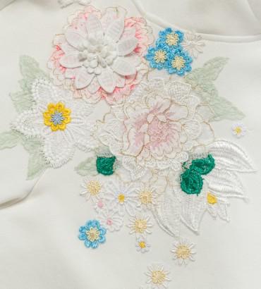 Одежда белый свитшот с кружевом Сабина 2