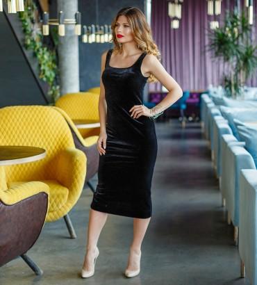 нарядное бархатное платье черного цвета