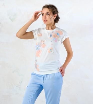 Одежда футболка белая  с кружевом Хайди