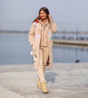 Одежда пальто женское бежевое Мелания 2