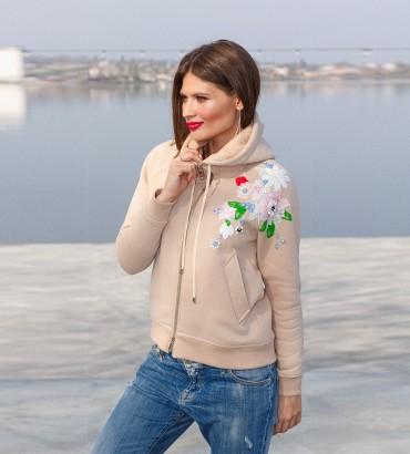 Модный худи бежевого цвета с молнией Нэнси