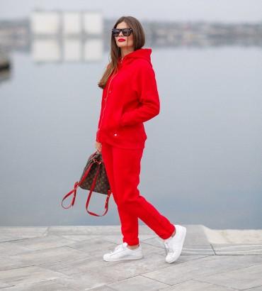 Красный спортивный костюм теплый с кружевом Симона