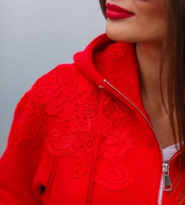 Красный спортивный костюм теплый с кружевом Симона  2