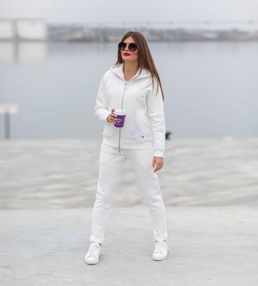 Белый спортивный костюм теплый с кружевом Симона