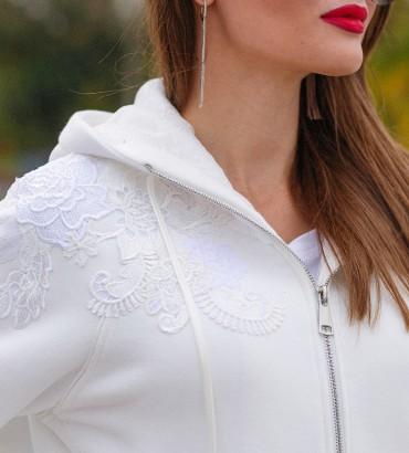 Белый спортивный костюм теплый с кружевом Симона  2