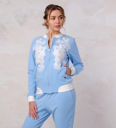 Одежда бомбер голубой Афины