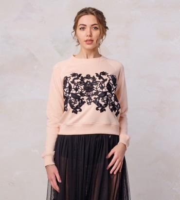 Одежда розовый свитшот с кружевом  Аллегрия