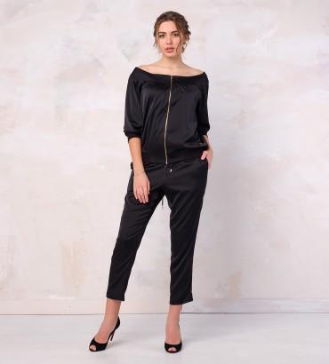 Одежда женский черный костюм шелковый