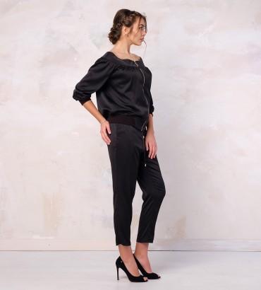 Одежда женский черный костюм шелковый  2
