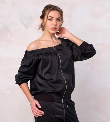 Одежда черный бомбер шёлк
