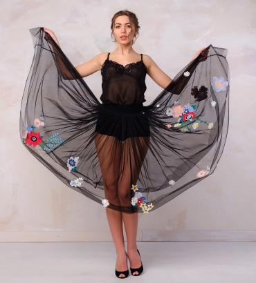 Одежда юбка летняя с кружевом 2