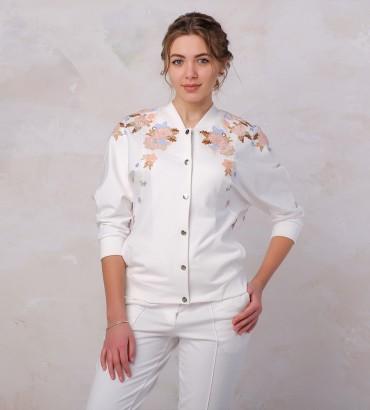 Одежда бомбер женский белый Оливия