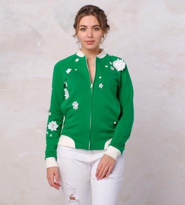 Одежда зелёный бомбер женский Мелисса