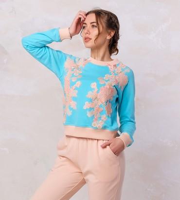 Одежда голубой свитшот с кружевом Наоми